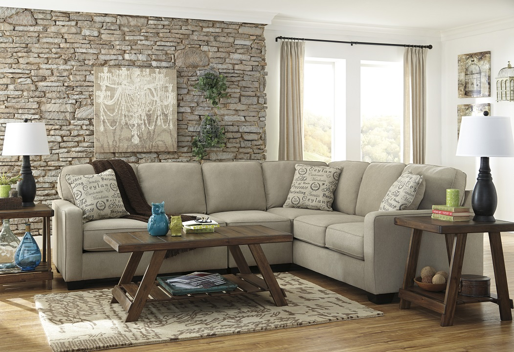 Bradleys rustic furniture benchcraft fabric sectionals for American home furniture menaul