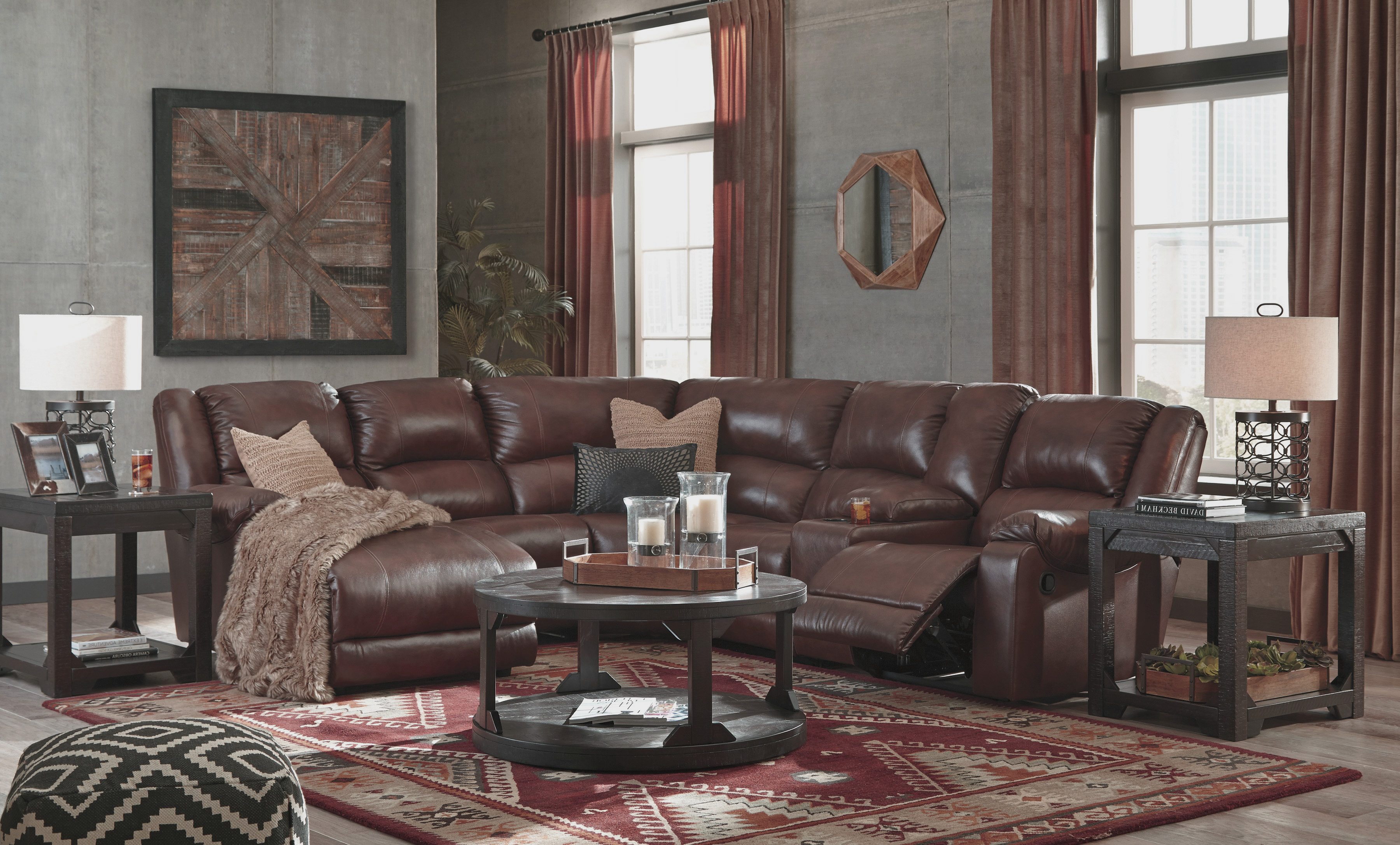 Swell Bradleys Rustic Furniture Benchcraft Leather Sectionals Squirreltailoven Fun Painted Chair Ideas Images Squirreltailovenorg