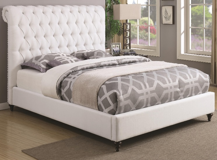 Coaster Devon 300527 Upholstered Full, Queen, King, And CalKing Bed  Collection Features A Rolled Headboard With Diamond Button Tufting,  Individual Nailhead ...