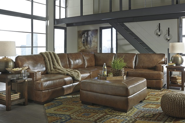 Signature Design #304 Top Grain Leather Sectional As Shown 3 Piece Sale Price $2249. Square Top Grain Leather Ottoman $399 : rustic leather sectional sofa - Sectionals, Sofas & Couches