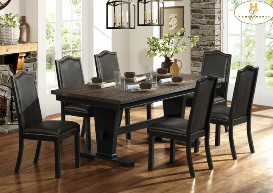 Homelegance And Coaster Traditional Rustic Tropical Hardwood Distressed Real Wood Dining