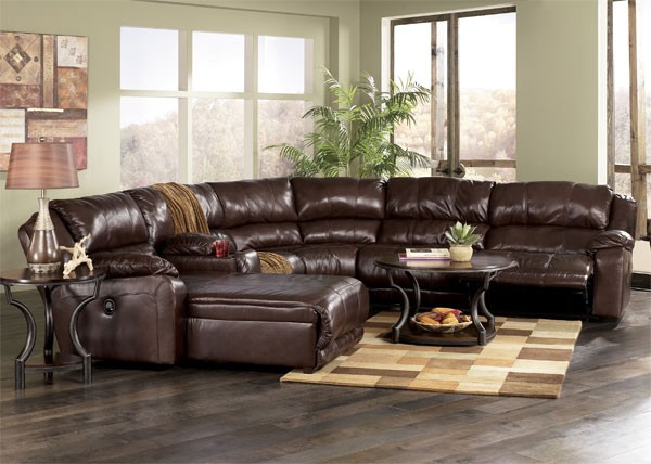 Benchcraft leather sofa furniture brown benchcraft sofa for Ashley encore grain chaise