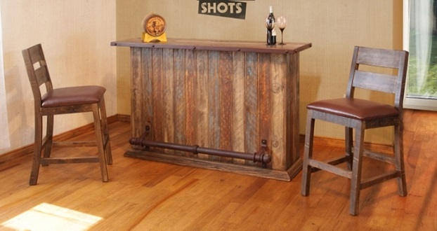 Island Bar Pub Height Table 63 x 20 x 42   699  Solid Wood Bar Chair  w Leather Seat 24 1 2 x 19 x 44   179  Rustic Mirror. Bradley s Furniture Etc    Utah Rustic Furniture and Mattresses