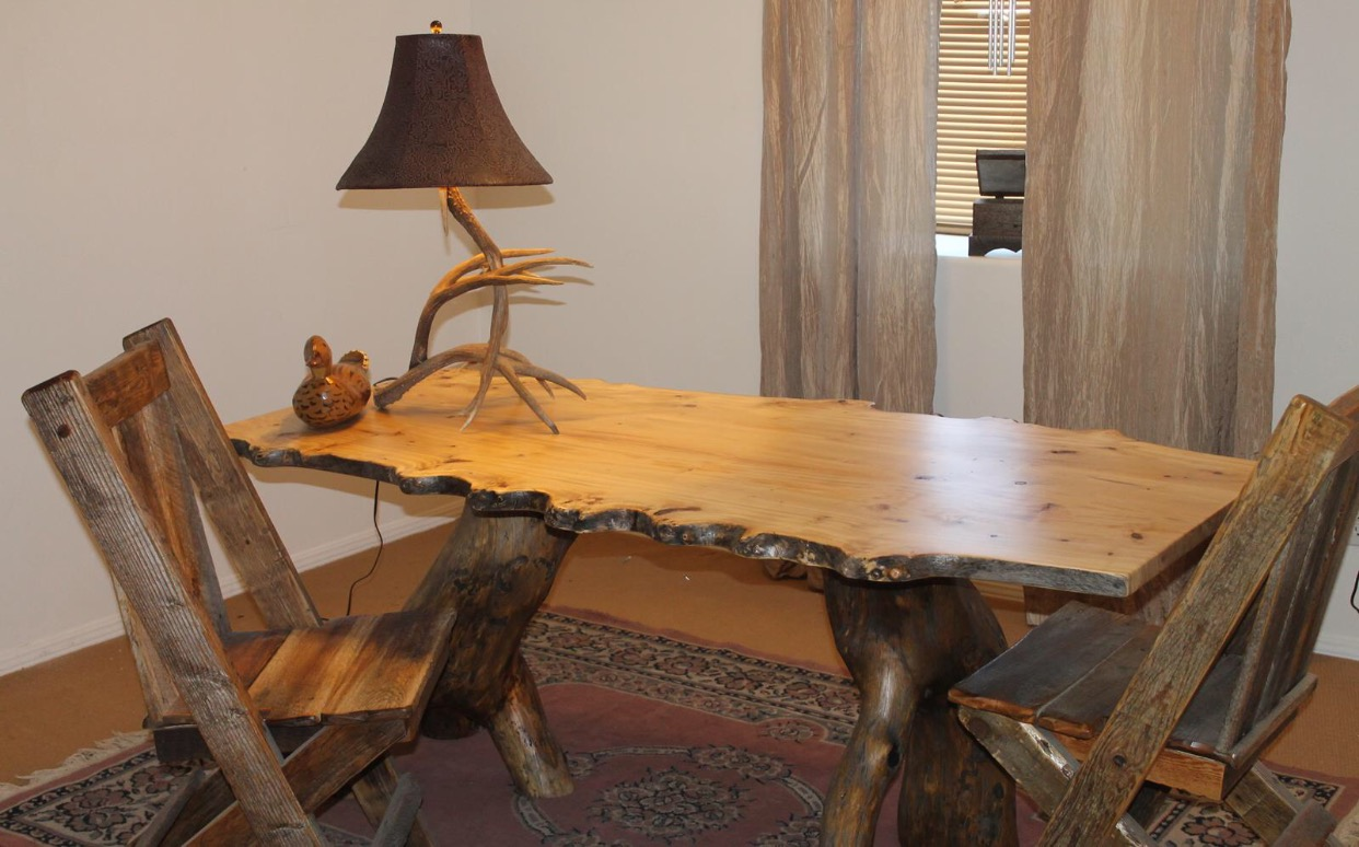 chunky dining table and chairs custom live edge ash small office or gathering table