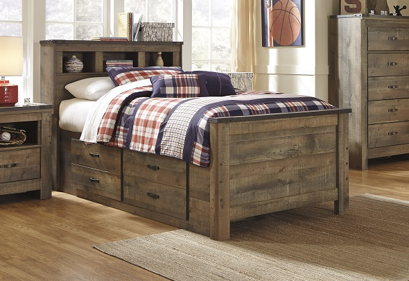 b446 trinell replicated barnwood bookcase captains bed wdrawers on one side 2 large drws on sale 599 twin as shown 61w x 90l x 50h on sale 669 full