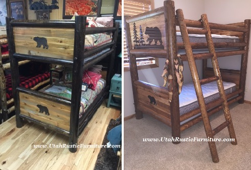Bear Creek Barnwood Panel Bunk All sizes avail. T/T as shown $1649 NOW  $1449. Choose from Different Stains Avail. in all sizes! - Bradley's Furniture Etc. - Rustic Log And Barnwood Bunk Beds