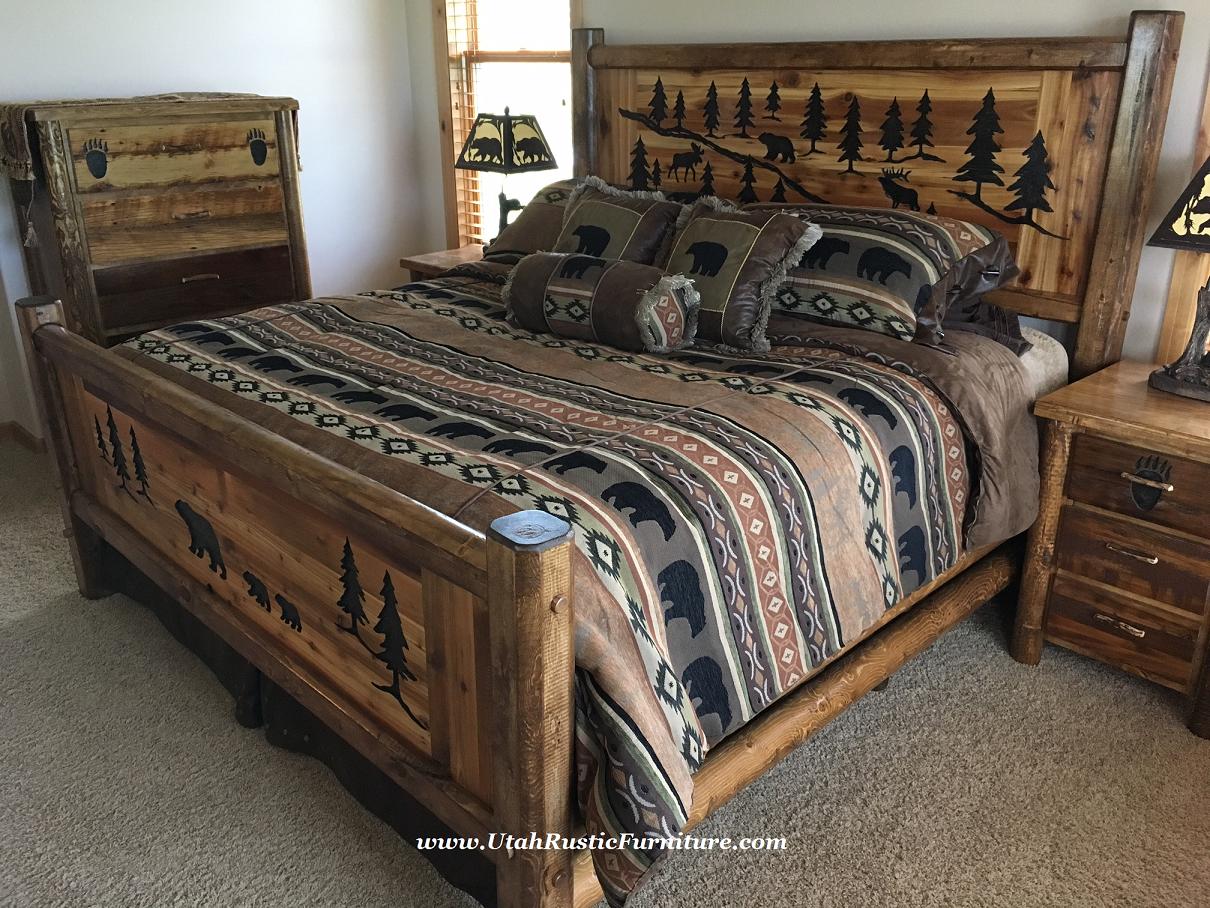 Bedroom Sets Utah bradley's furniture etc. - utah rustic bear paw barnwood bedroom