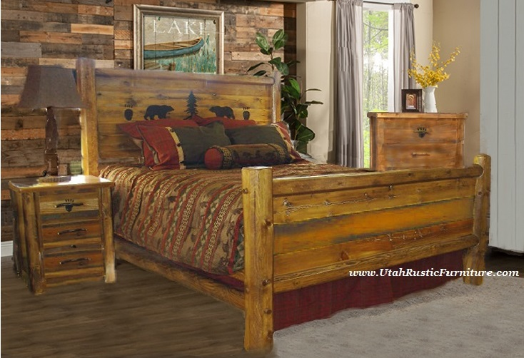 Elegant Bear Paw Barnwood 100% Solid Wood Bed Set