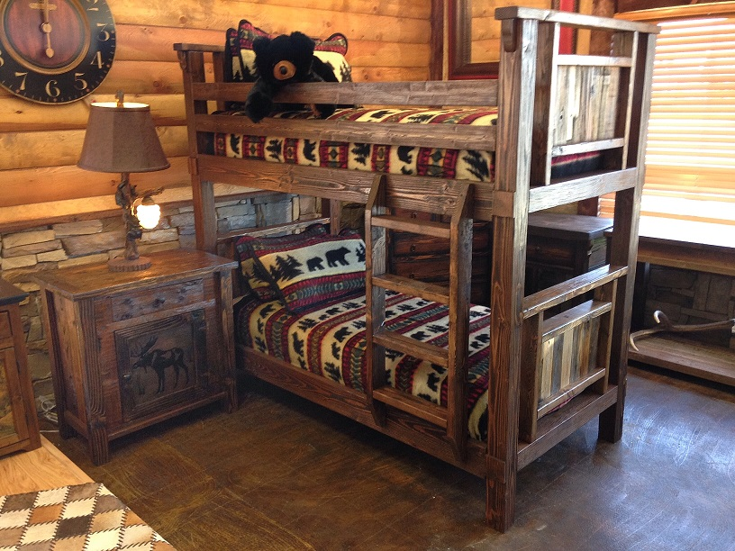 Bradley 39 s furniture etc rustic log and barnwood bunk beds for Cabin furniture sale
