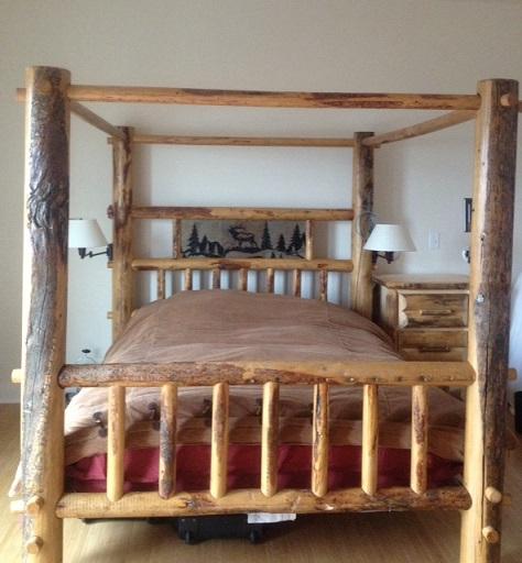 Bradley 39 s utah log beds utah rustic call of the wild for Log canopy bed frames