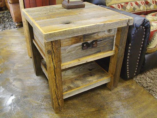 Barnwood Western Plains Rough Cut End Table W/Shelf