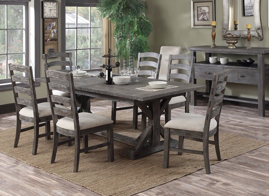 Brilliant Distressed Dining Room Sets Wood Table Bench Metal Legs