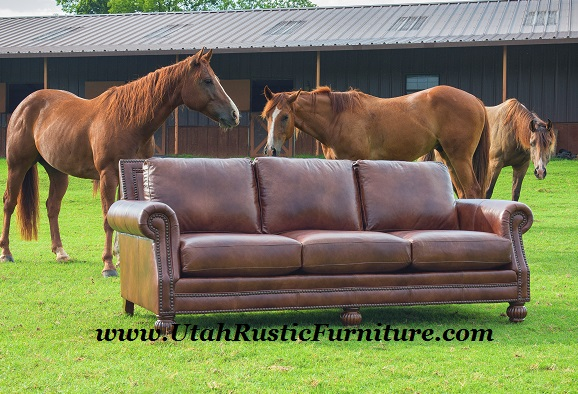 Charmant Mayo Top Grain Custom Rustic Leather Couches