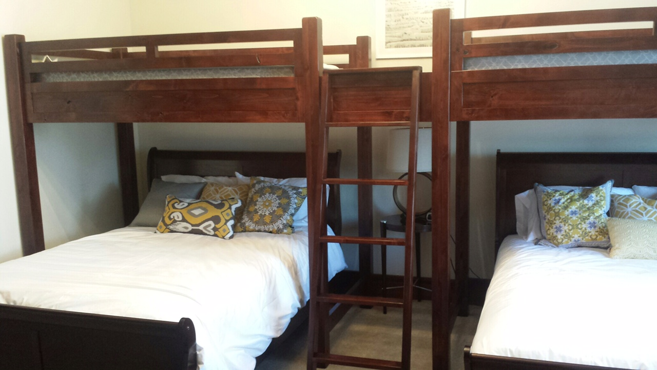 mountain alder post option solid wood twin loft backtoback bunks wbridge shown in cherry stain was now 63u201d w prior to adding queen beds