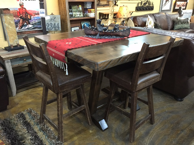 mtn  alder solid knotty alder trestle pub table w double stacked chainsawed edge in light walnut     bradley u0027s furniture etc    utah rustic dining table sets  rh   utahrusticfurniture com