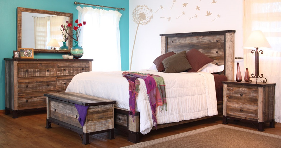 Artisan Antique Distressed Multicolored Bedroom Set On Display Today