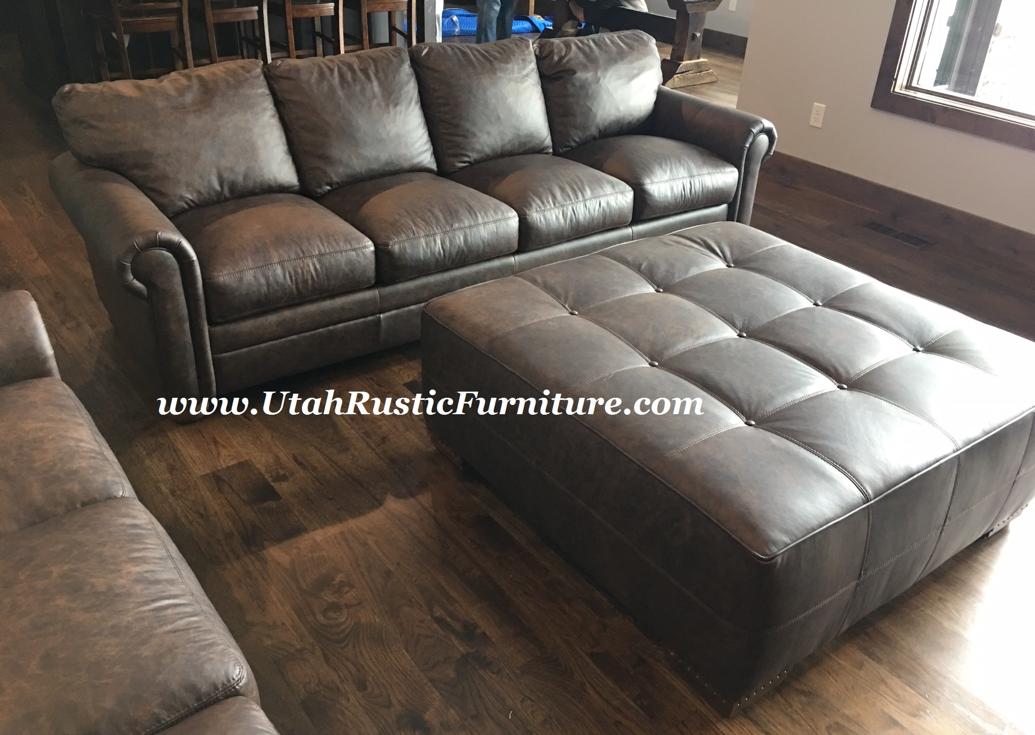 Omnia Laredo  Custom Two Tone 100% Genuine Leather Sofa W/Alligator Stamp  Accents $3549. Call Or Email For Pricing And Dims On Other Pieces Shown.