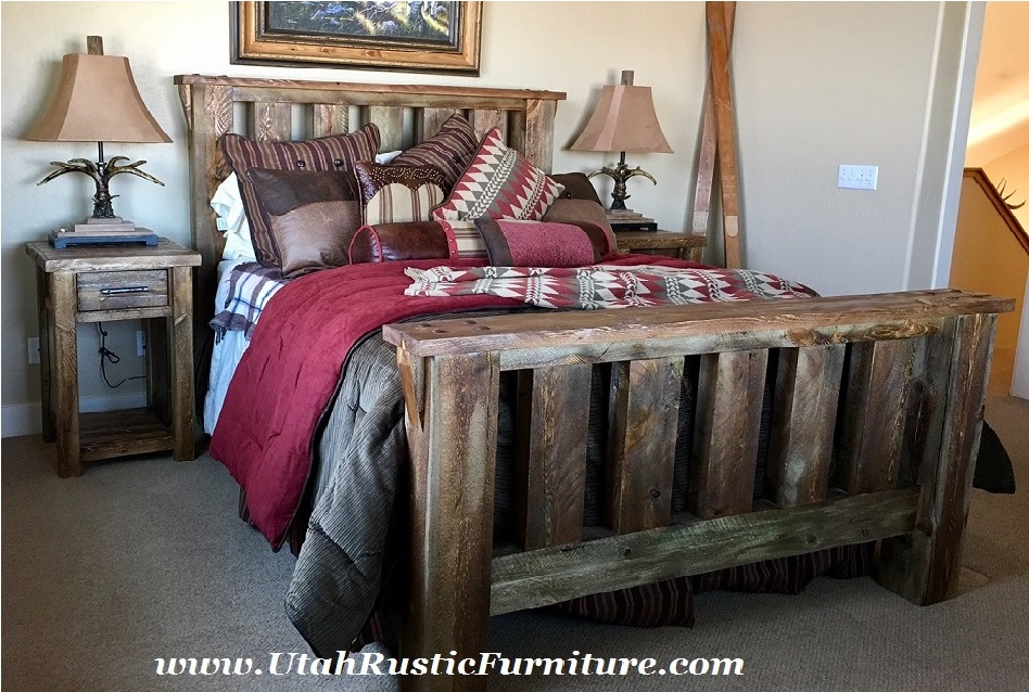 Customizable Hand Built Bedroom Rugged Canyon Barnwood Custom Bed Set