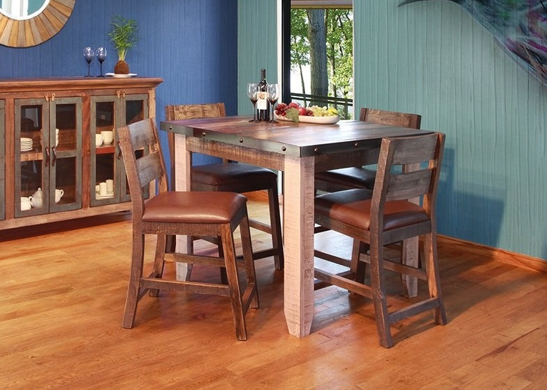Counter Height Dining Table 42 1 2 X 36 549 Solid Wood Chair W Faux Leather 19 24 4 37 3 179 Collection Made Of Real Rough
