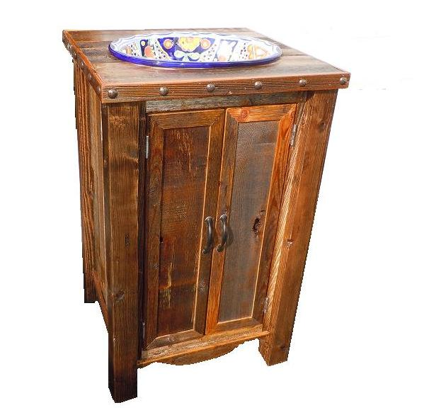 western plains barnwood small two door vanity built for an above or in counter sink 35 h add 60 24 w x 21 d x 35 h sale price 689 sink and - Barnwood Bathroom Vanity