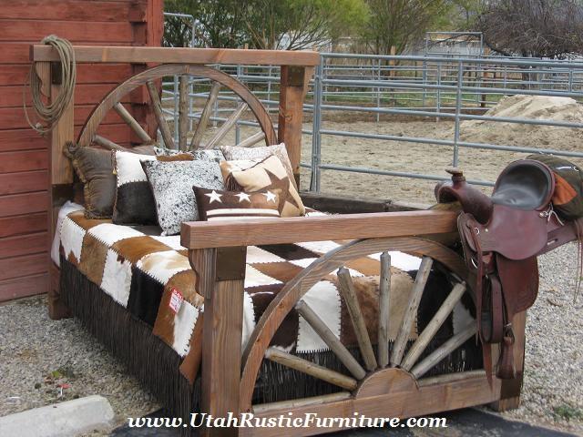 Rustic Benches With Steel Wheels : Bradley s furniture etc wagon wheel barnwood bedroom