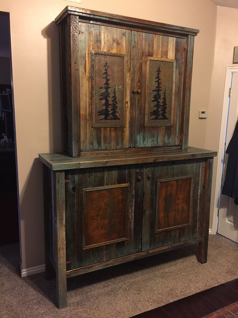 Western Plains Barnwood Touch Of Turquoise Armoire/Gun ...