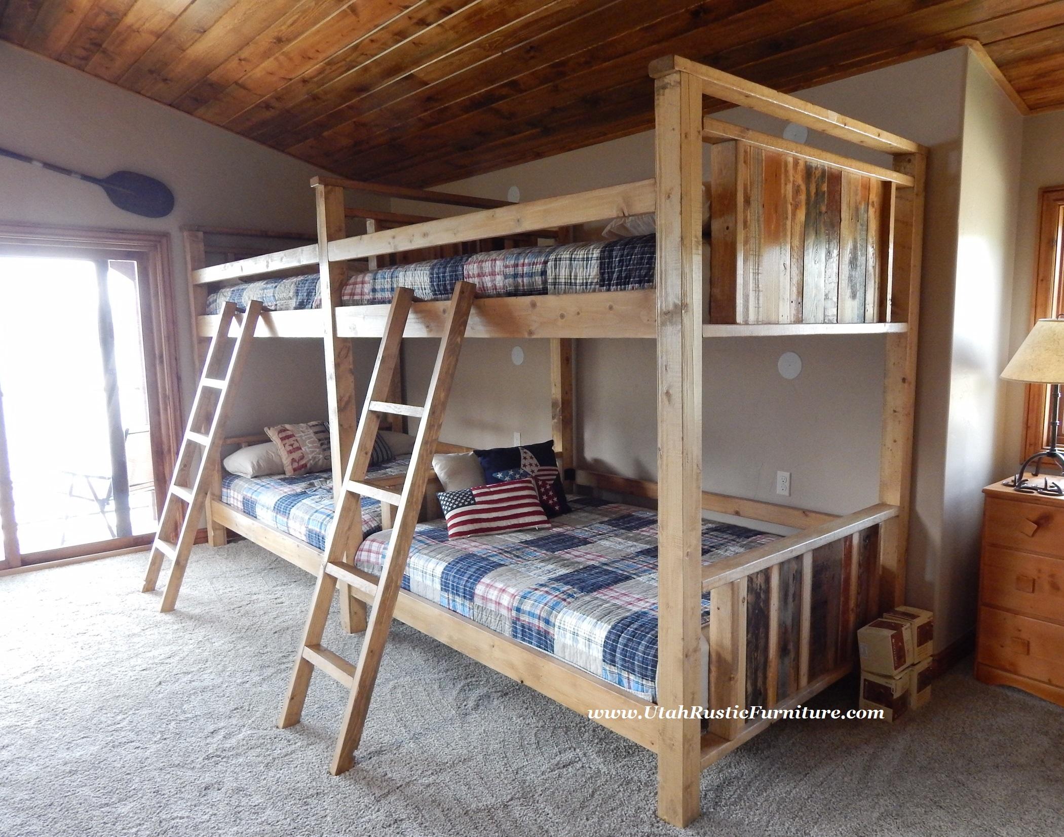 bradley's furniture etc. - rustic log and barnwood bunk beds