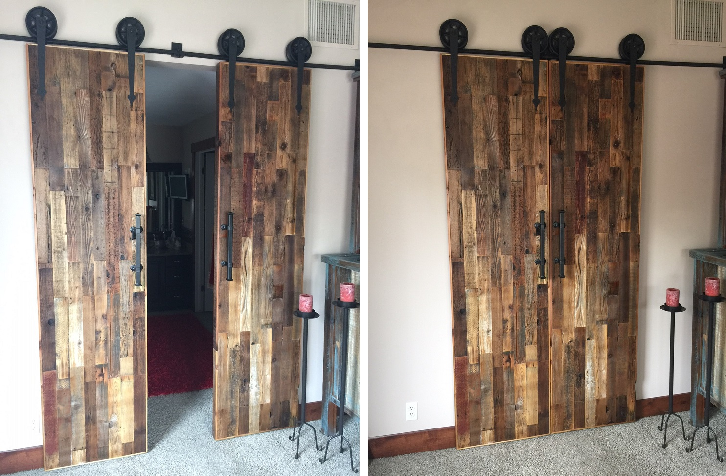 barnwood doors custom made reclaimed barn wood sliding. Black Bedroom Furniture Sets. Home Design Ideas