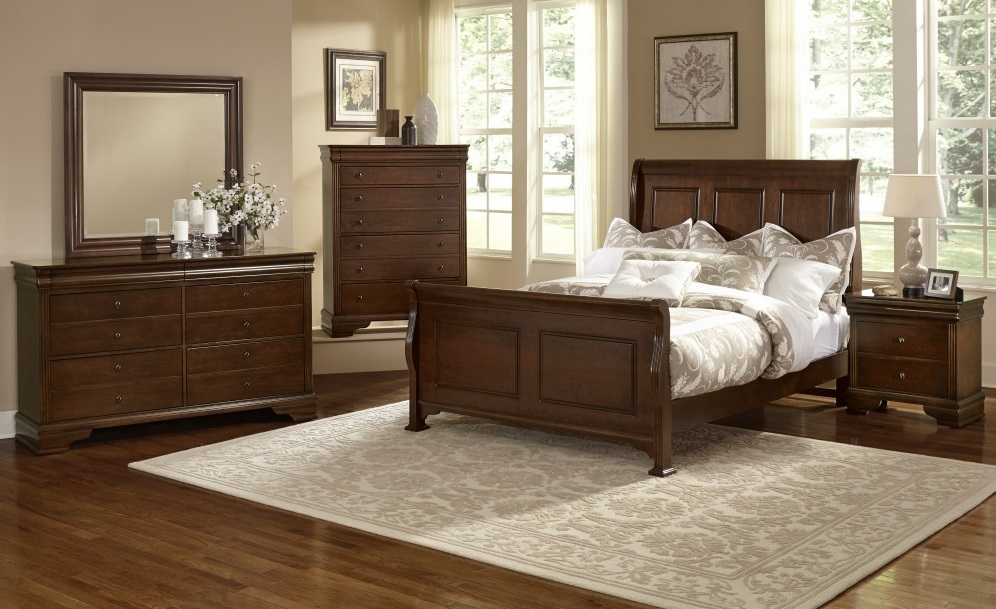 French Market Sleigh Elite Hardwood Rustic Collection Queen 649 King 849