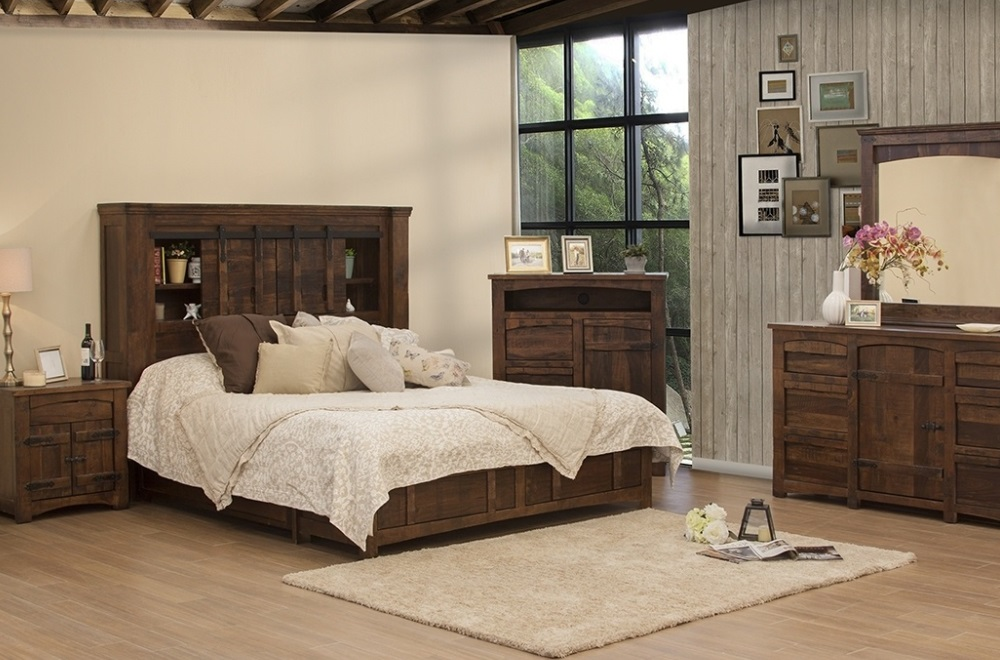 Mezcal Distressed Wood Bed With Or W/o Drawers