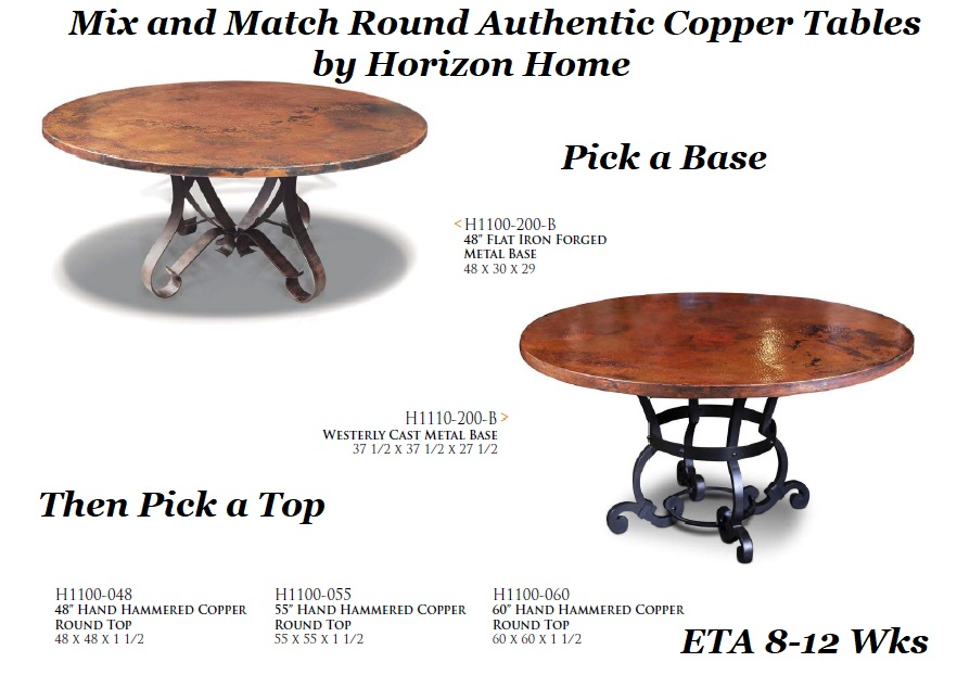48 Round Copper Dining Table Was 1799 Now 1549