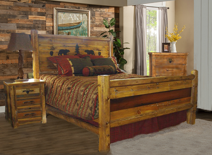 rustic bedroom furniture sets bradley s furniture etc utah rustic paw barnwood 17013